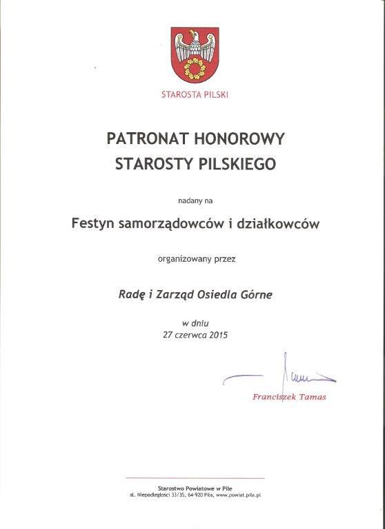 Patronat Honorowy Starosty Pilskiego 2015